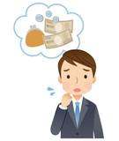 若いビジネスマン 男性 お金の心配