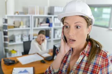 Shocked female architect
