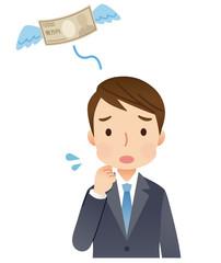 若いビジネスマン 男性 お金 出費