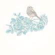 Card with bird, roses