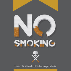 No smoking sign in cigarette letters. World No Tobacco Day .