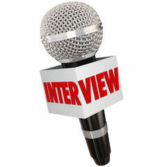 Interview Microphone Reporter Asking Questions Getting Answers