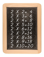Multiplication table handwritten with white chalk on school blac
