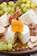 camembert with honey and fruit close-up on wooden tray, vertical