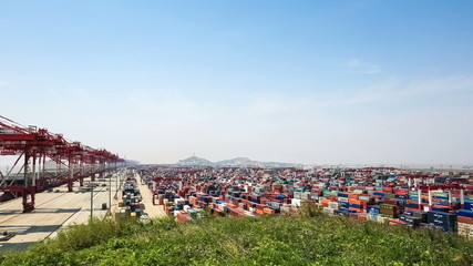 container yard under the blue sky in shanghai, time lapse
