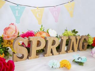 花とアルファベットブロックSPRING