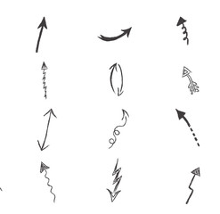 Vector, set, hand, drawn, arrows, illustration
