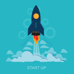 Vector,  flat, style, start, up, launch, illustration