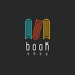 Book shop logo, mockup literature store, design library - 81470733