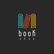 Book shop logo, mockup literature store, design library