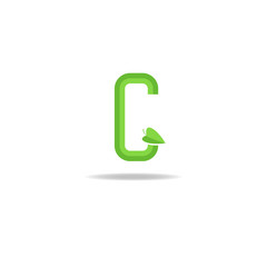Green letter G logo, eco concept icon, ecology design element