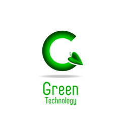 Green letter G and leaf, eco technology logo, ecology poster