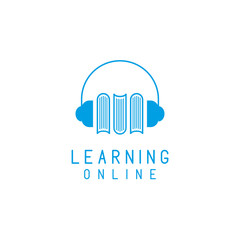 Online language learning logo, headphones and books