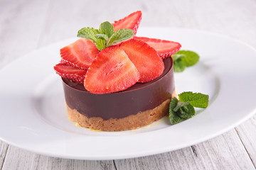 chocolate mousse and strawberry