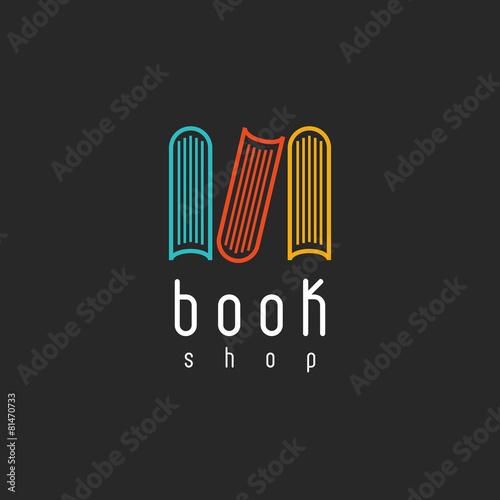 Book shop logo, mockup literature store, design library