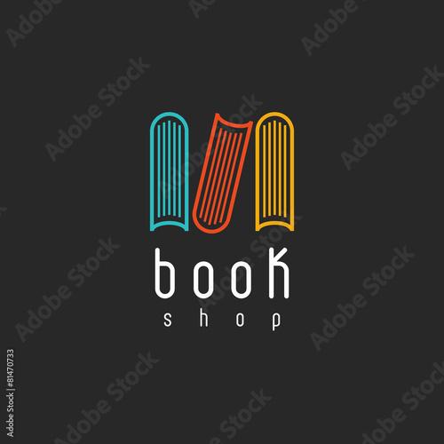 Book shop logo, mockup literature store, design library - 81470733