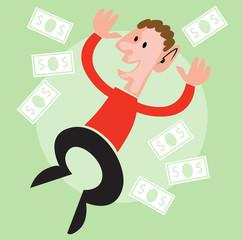 hombre de negocios 3D saltando para la victoria lluvia de dinero