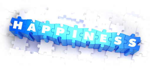 Happiness - White Word on Blue Puzzles.