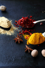 mix of spices on dark background