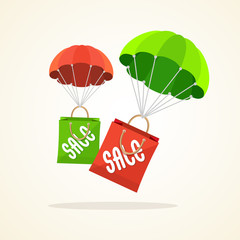 Vector parachute with paper bag sale. Flat Design