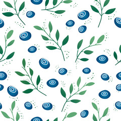Seamless pattern with blueberries and leaves. Gradient color
