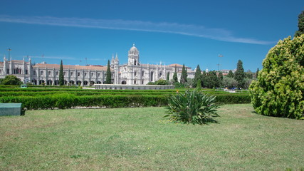 The Jeronimos Monastery or Hieronymites Monastery with lawn and