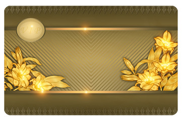 Gold business or gift cards template.
