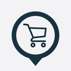 shopping cart icon map pin