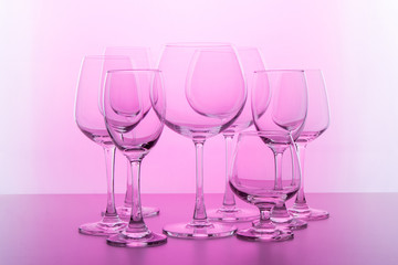 Empty wine glass. isolated on pink background
