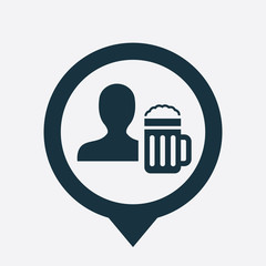 man with beer glass icon map pin