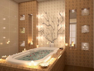 3d illustration of bath with rose petals by candlelight. Relaxin