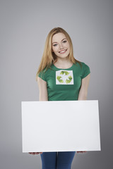 Female environmentalist with empty whiteboard