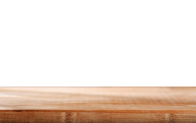 Wooden worktop with isolated background