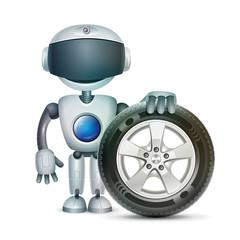 The robot with a car wheel, vector