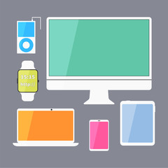 Modern business ui devices set - display, digital tablet, mobile