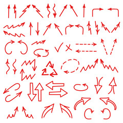 Hand drawn arrows icons set isolated on white background
