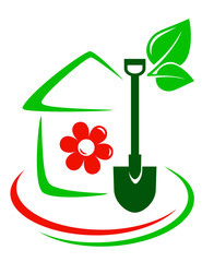 green garden icon with house, flower and shovel
