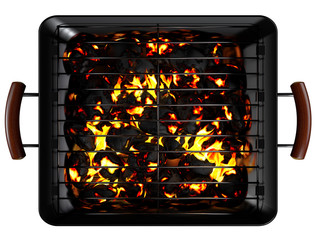 Rectangle Charcoal Grill on White. Clipping paths