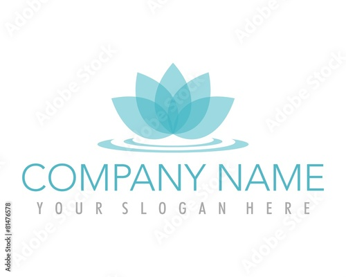 flower lotus blue ornament logo image vector - 81476578