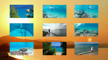 Summer tourist destination and vacation at sea - split screen