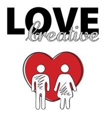 Creative love. Man, woman, heart, symbol, Vector illustration