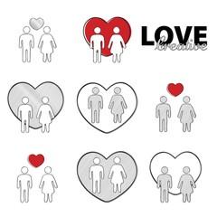 Creative love, set. Man woman,  heart. Vector illustration