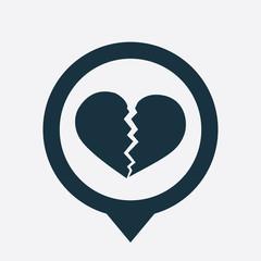broken heart icon map pin