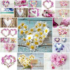Hochzeits-Collage: Blütenherzen :)