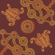 Vector background aboriginal style design with turtles - 81477336