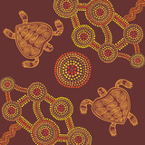 Vector background aboriginal style design with turtles