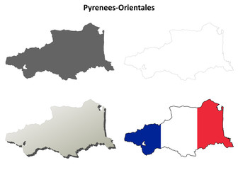 Pyrenees-Orientales (Languedoc-Roussillon) outline map set