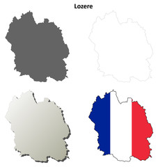 Lozere (Languedoc-Roussillon) outline map set