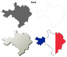 Gard (Languedoc-Roussillon) outline map set
