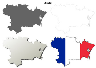 Aude (Languedoc-Roussillon) outline map set